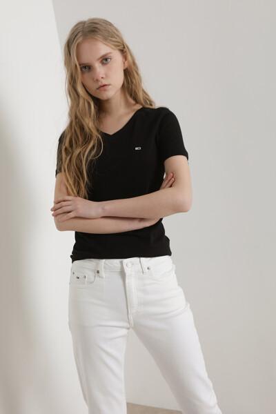 코튼 슬림핏 져지 브이넥 티셔츠