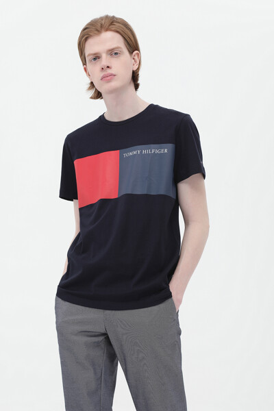 코튼 투 컬러 박스 티셔츠