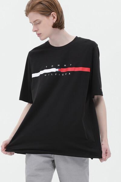 코튼 박시핏 글로벌 스트라이 티셔츠