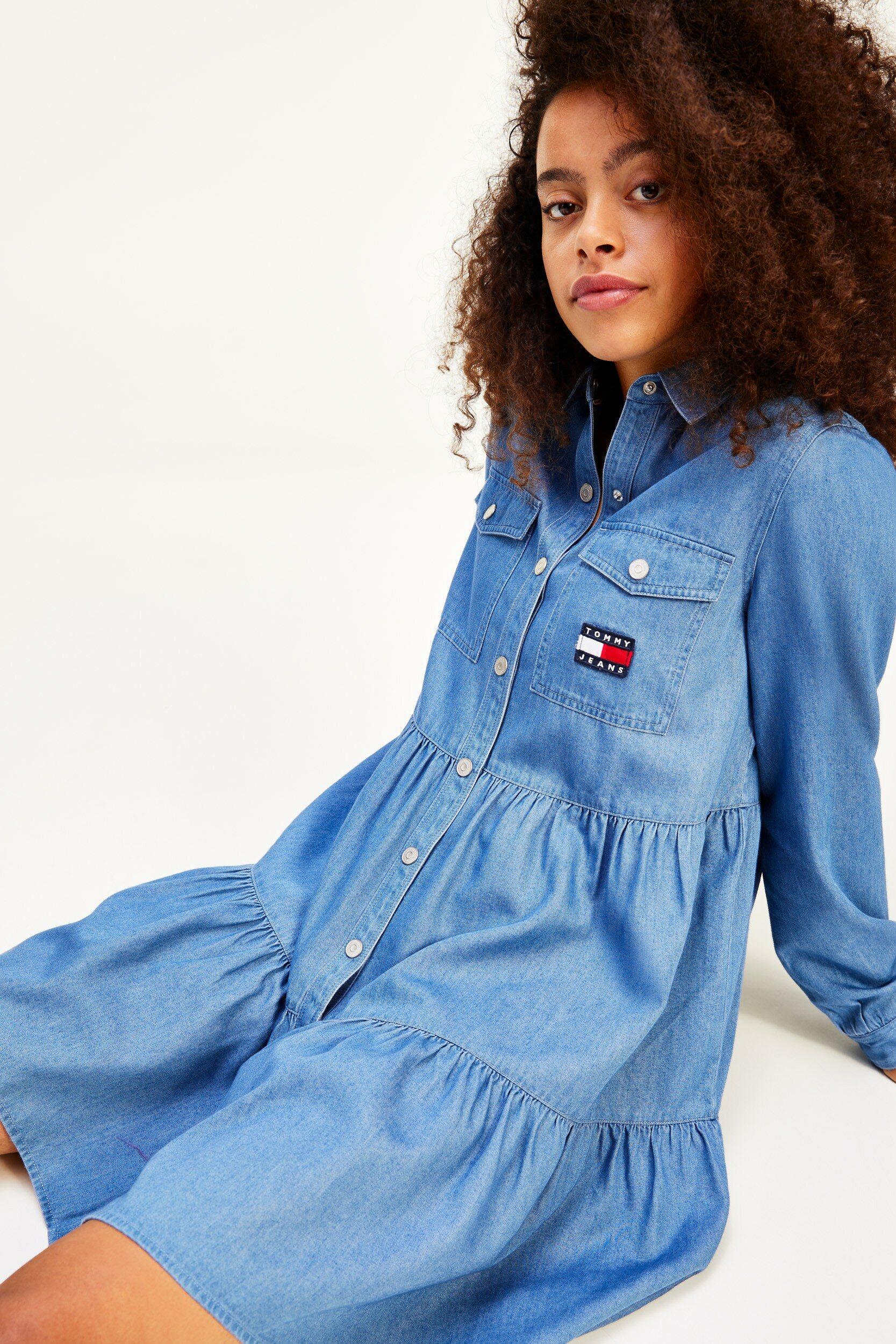 타미진스(TOMMY JEANS) 샴브레이 드레스 셔츠 (T32B1WOP43TWT11A7)
