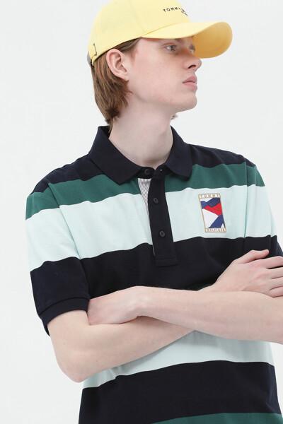 코튼 블록 스트라이프 폴로 티셔츠