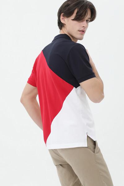 코튼 레귤러 컬러블록 폴로 티셔츠