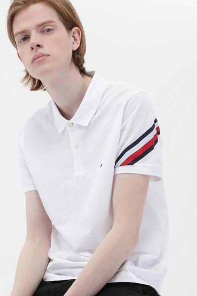 코튼 슬림 슬리브 테이프 폴로 티셔츠