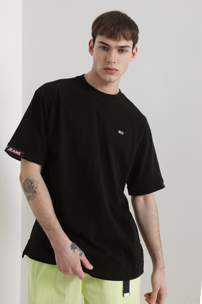 코튼 미니 플래그 자카드 티셔츠