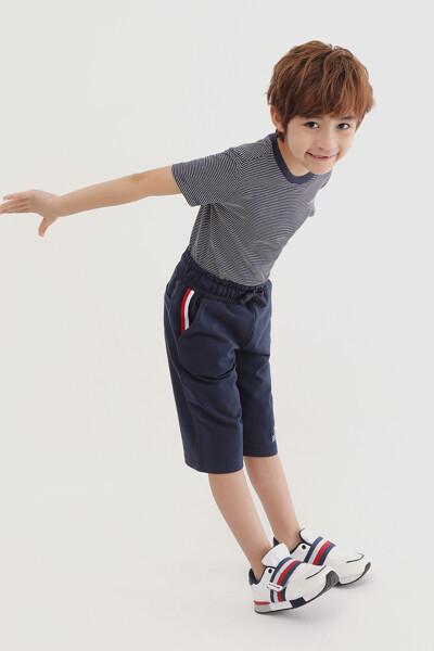 코튼 파인 스트라이프 반팔 티셔츠