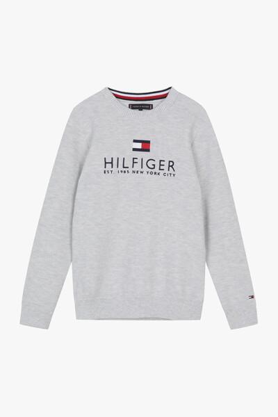 코튼 멀티 컬러 멜란지 크루넥 스웨터