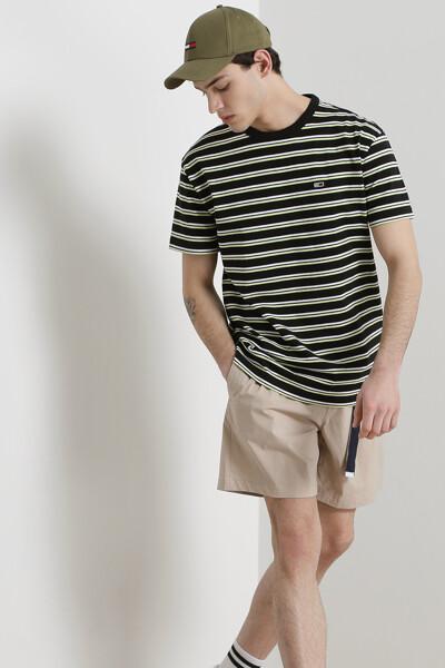 코튼 투톤 스트라이프 반팔 티셔츠