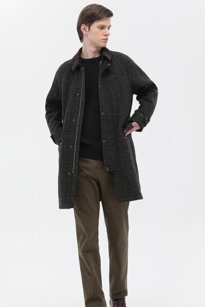 울혼방 타탄체크 미디 코트