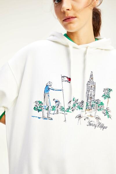 코튼 오버사이즈핏 타워 후드 티셔츠