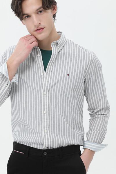 린넨혼방 슬림핏 스트라이프 셔츠