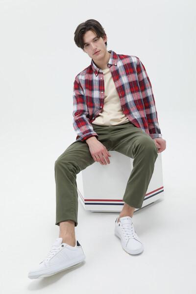 린넨 스탠다드핏 타탄체크 셔츠