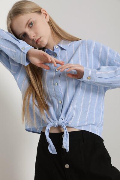 릴렉스 프론트 매듭 셔츠