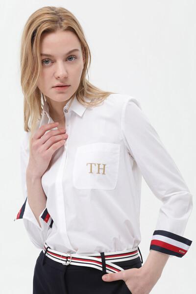 코튼 릴렉스핏 TH 로고 포켓 셔츠