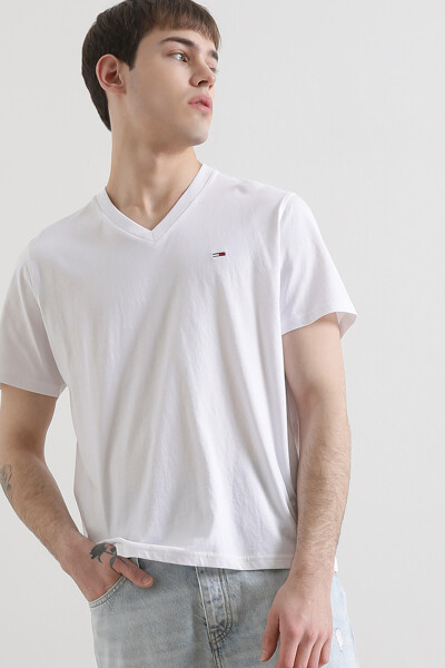 코튼 오리지널 브이넥 저지 티셔츠
