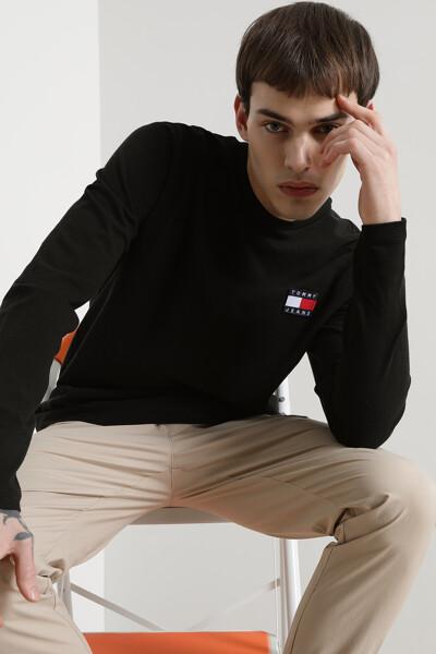 코튼 로고 뱃지 라운드 티셔츠