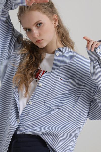 린넨혼방 오버사이즈 스트라이프 셔츠