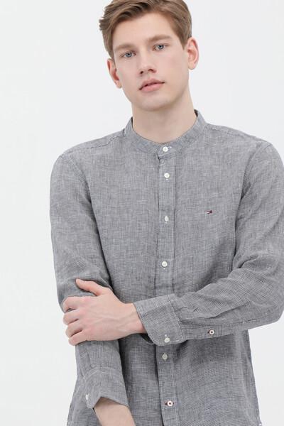 린넨 레귤러핏 만다린 셔츠