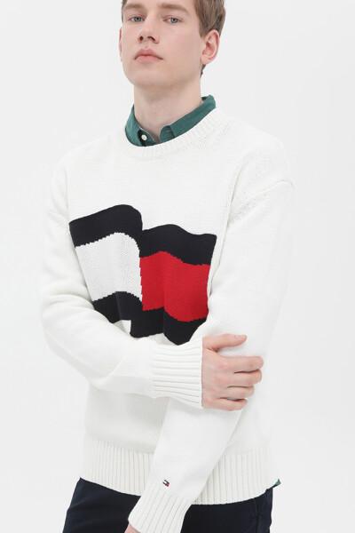 빅 그래픽 크루넥 스웨터