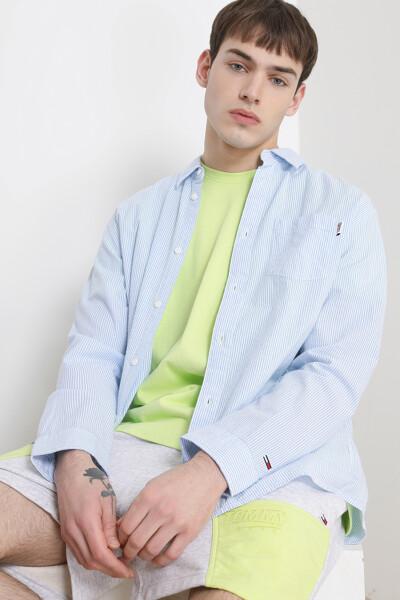 코튼 오버사이즈핏 스트라이프 시어서커 셔츠