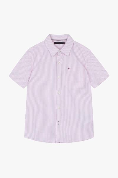 면혼방 스트라이프 반팔 셔츠