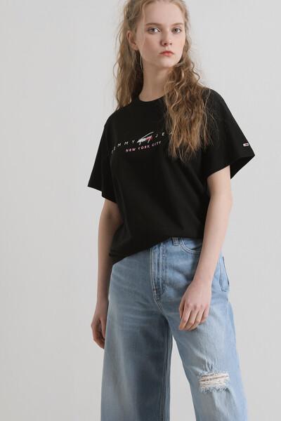 코튼 모던 로고 반팔 티셔츠