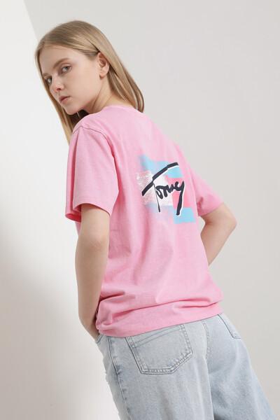 코튼 릴렉스핏 플래그 프린트 티셔츠