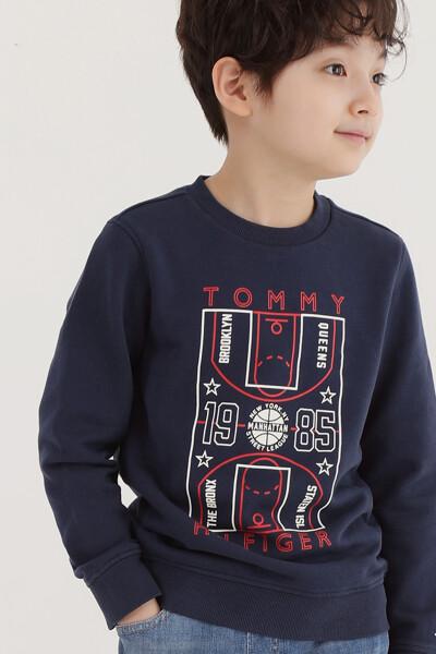 코튼 그래픽 크루넥 스웨트셔츠