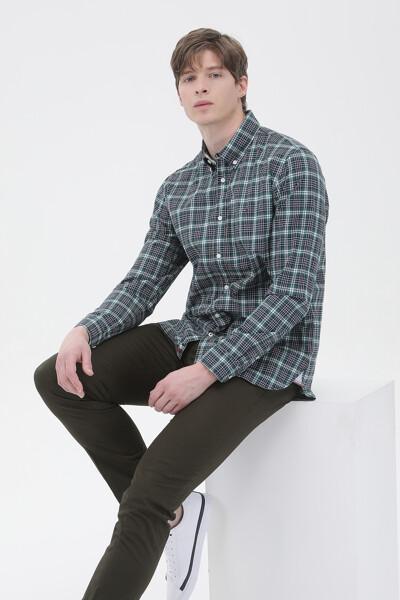 면혼방 슬림핏 시어서커 체크 셔츠