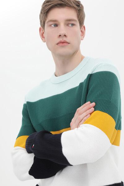 스트럭처 블록 스트라이프 스웨터