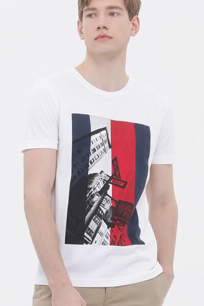 코튼 포토프린트 크루넥 티셔츠