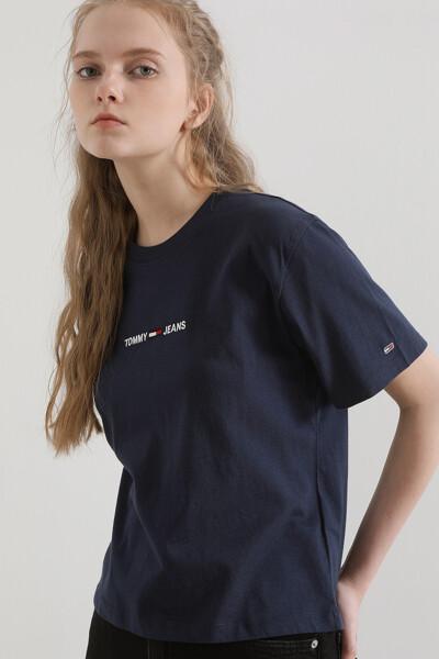 코튼 박시 크롭핏 로고 티셔츠