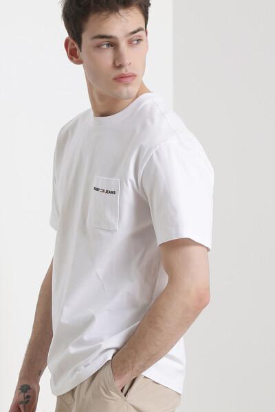 코튼 로고 포켓 크루넥 티셔츠