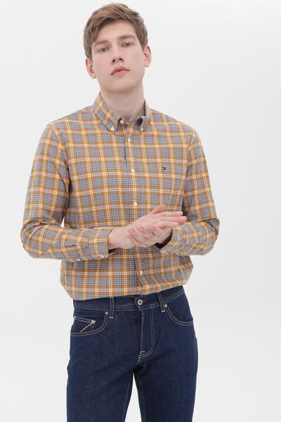 면혼방 슬림핏 씨어서커 체크 셔츠