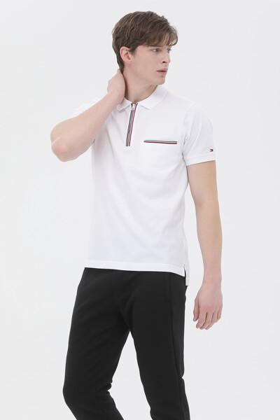면혼방 슬림핏 티핑 폴로 티셔츠