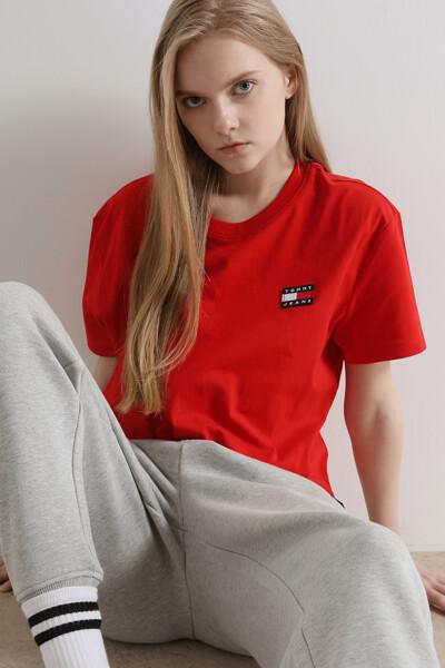 면혼방 크롭핏 뱃지 티셔츠