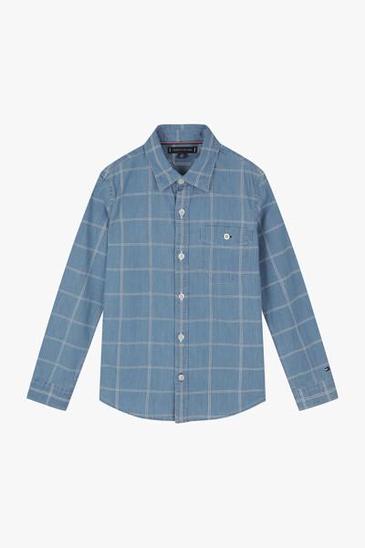데님 레귤러핏 플래그 체크 믹스 셔츠