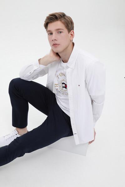시어서커 슬림핏 솔리드 셔츠