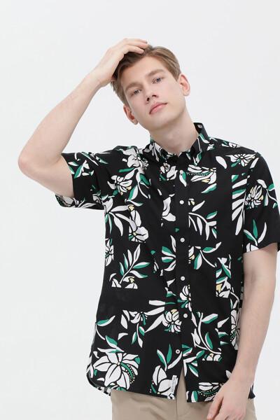 코튼 레귤러핏 플로럴 셔츠