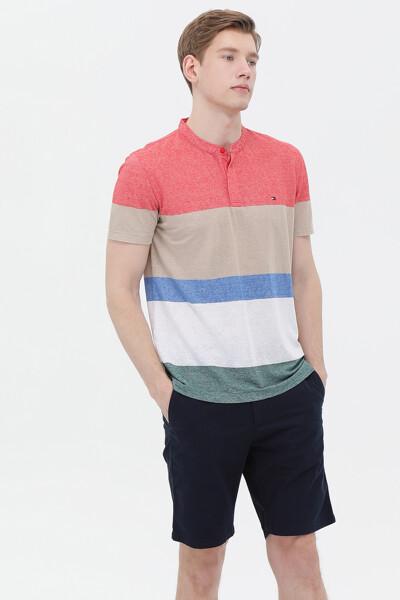 린넨혼방 헨리넥 반팔 티셔츠