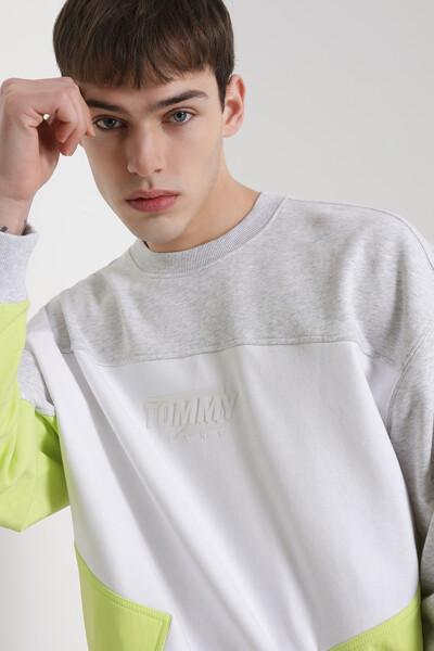 면혼방 컬러블록 크루넥 스웨트 셔츠