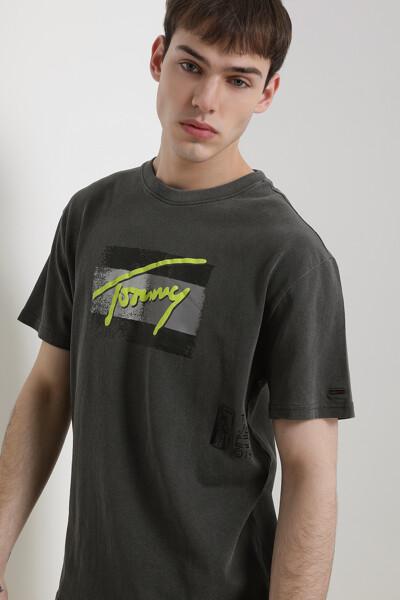 코튼 클래식핏 플래그 스크립트 티셔츠