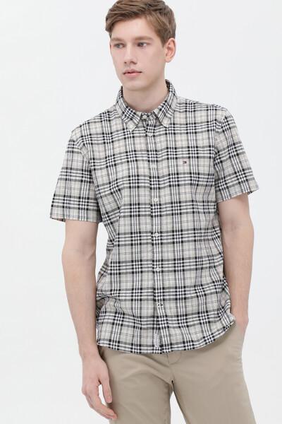 린넨혼방 레귤러핏 체크 셔츠