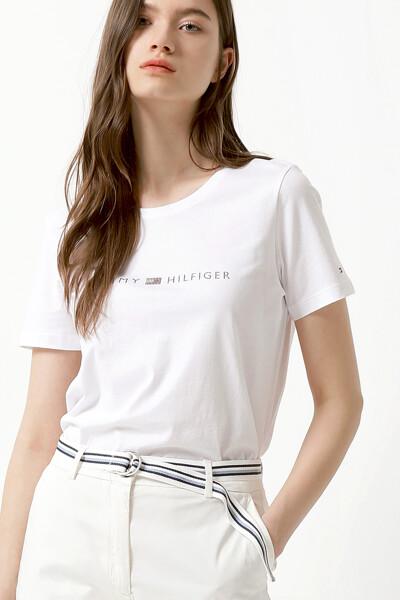 코튼 크리스탈 크루넥 티셔츠
