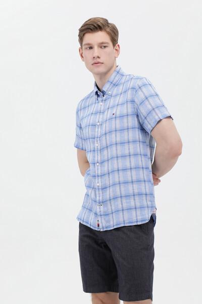 린넨 슬림핏 체크 셔츠