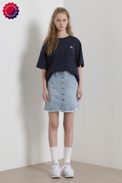 면혼방 뱃지 크루넥 티셔츠