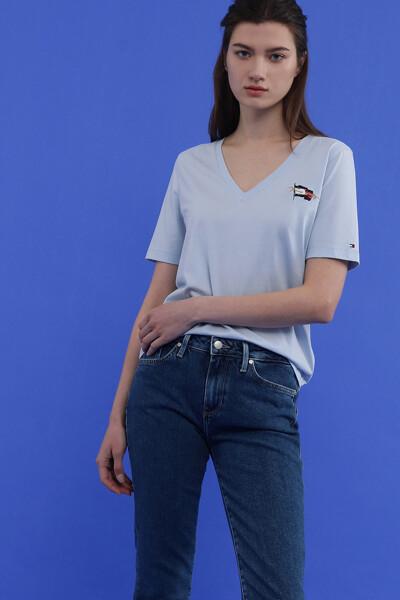 레귤러 플래그 브이넥 티셔츠
