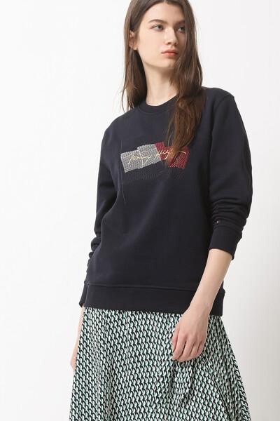 테리 레귤러핏 플래그 스웨트셔츠
