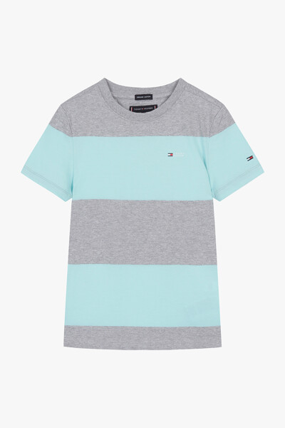 블록 스트라이프 반팔 티셔츠