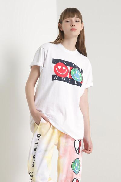 코튼 플래그 월드 크루넥 티셔츠