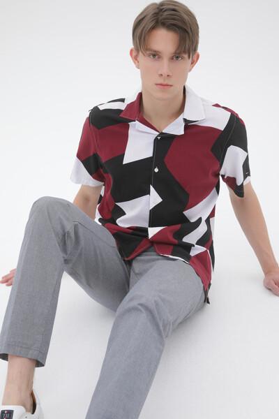 코튼 플래그 프린트 셔츠